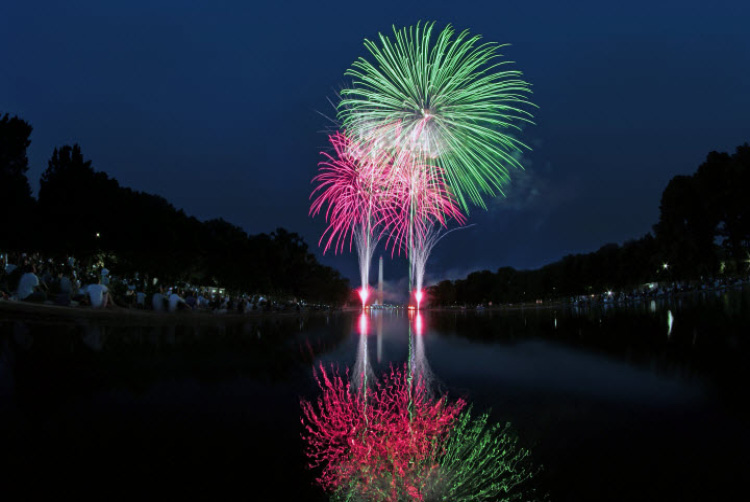 Fireworks Over Reflecting Pond - Garden State Fireworks